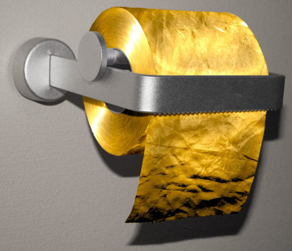 Cuộn giấy vệ sinh làm bằng vàng